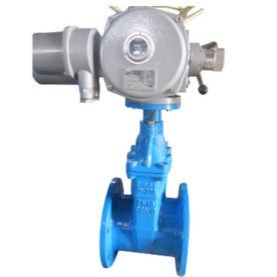 Pn16 Electric Actuator Operated Cast Iron Non-Rising Stem Resilient Seat Gate Valve